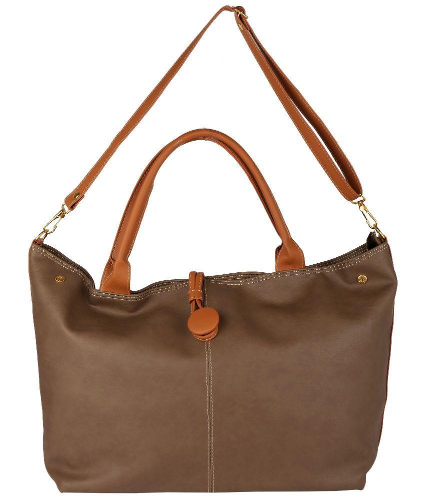 Obvio Brown P.U. Tote Bag