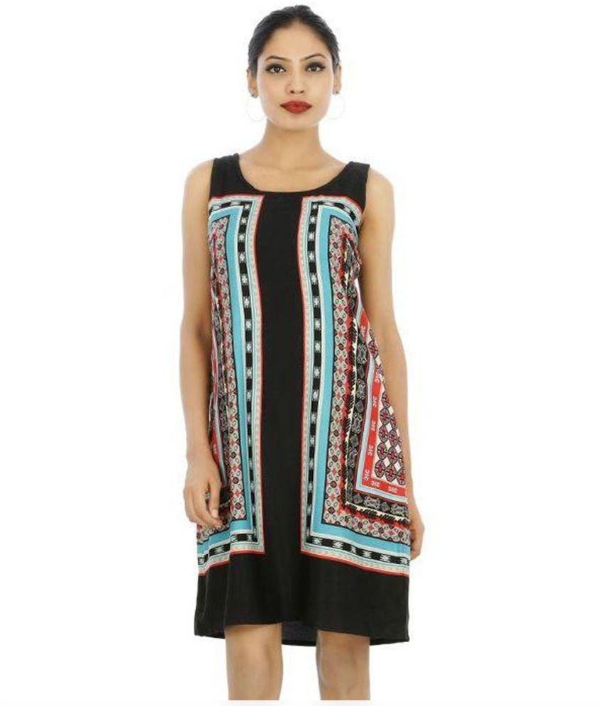 Soneya Fashion Georgette Black A- line Dress
