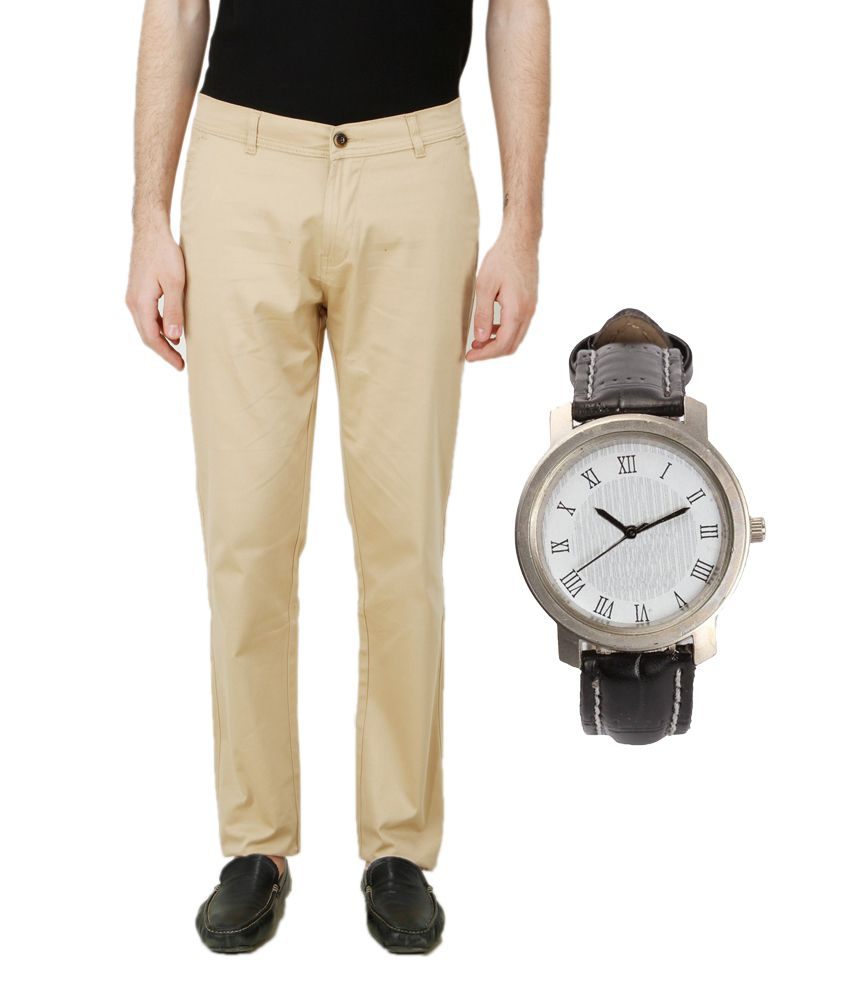 Ansh Fashion Wear Multicolor Regular Fit Chinos With Men's Watch
