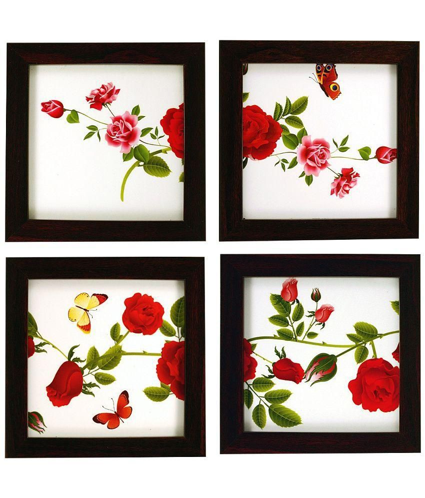 Indianara Multicolor Floral Painting - Set Of 4