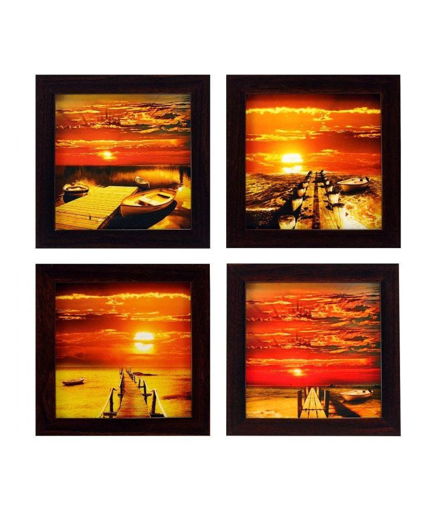 Indianara Multicolor Painting - Set Of 4