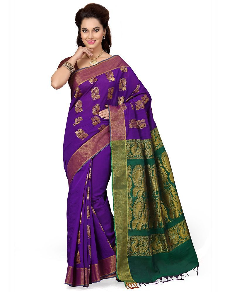 Ishin Purple Silk Saree