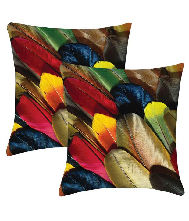 Lushomes Multicolor Poyester Cushion Covers - Pack of 2