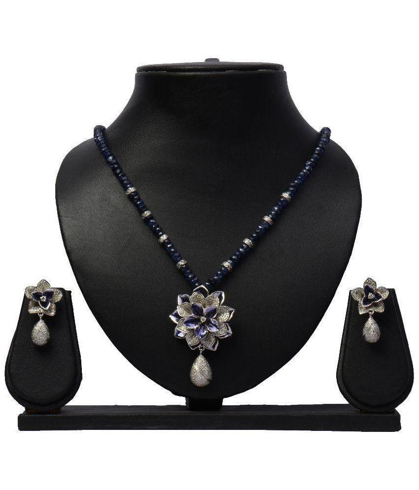 Nk Jewels 92.5 Sterling Silver Sapphire Diamond Necklace Set