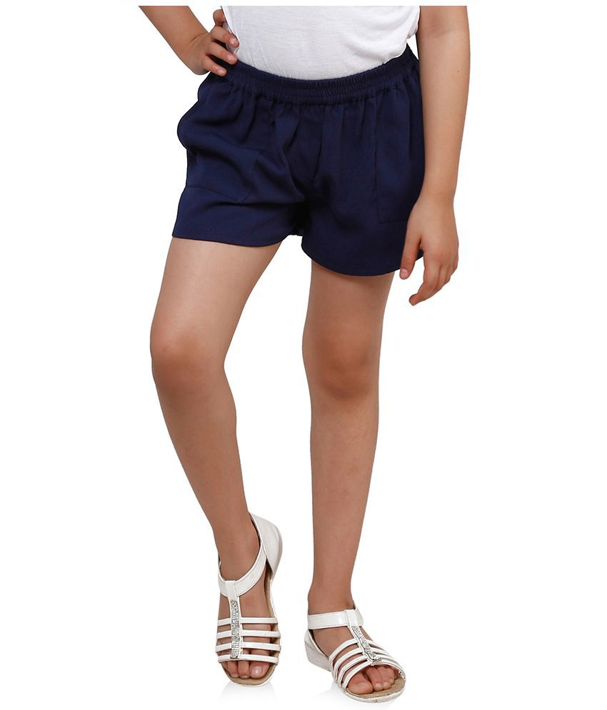 Oxolloxo Blue Polyester Shorts For Girls