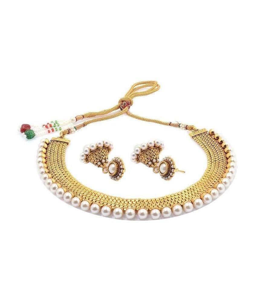 Quail Golden Alloy Necklace Set
