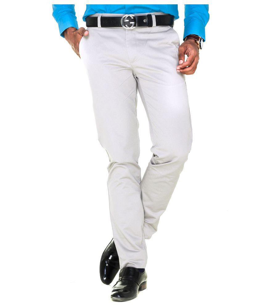 Tmg Textiles and Garments White Regular Fit Flat Trousers