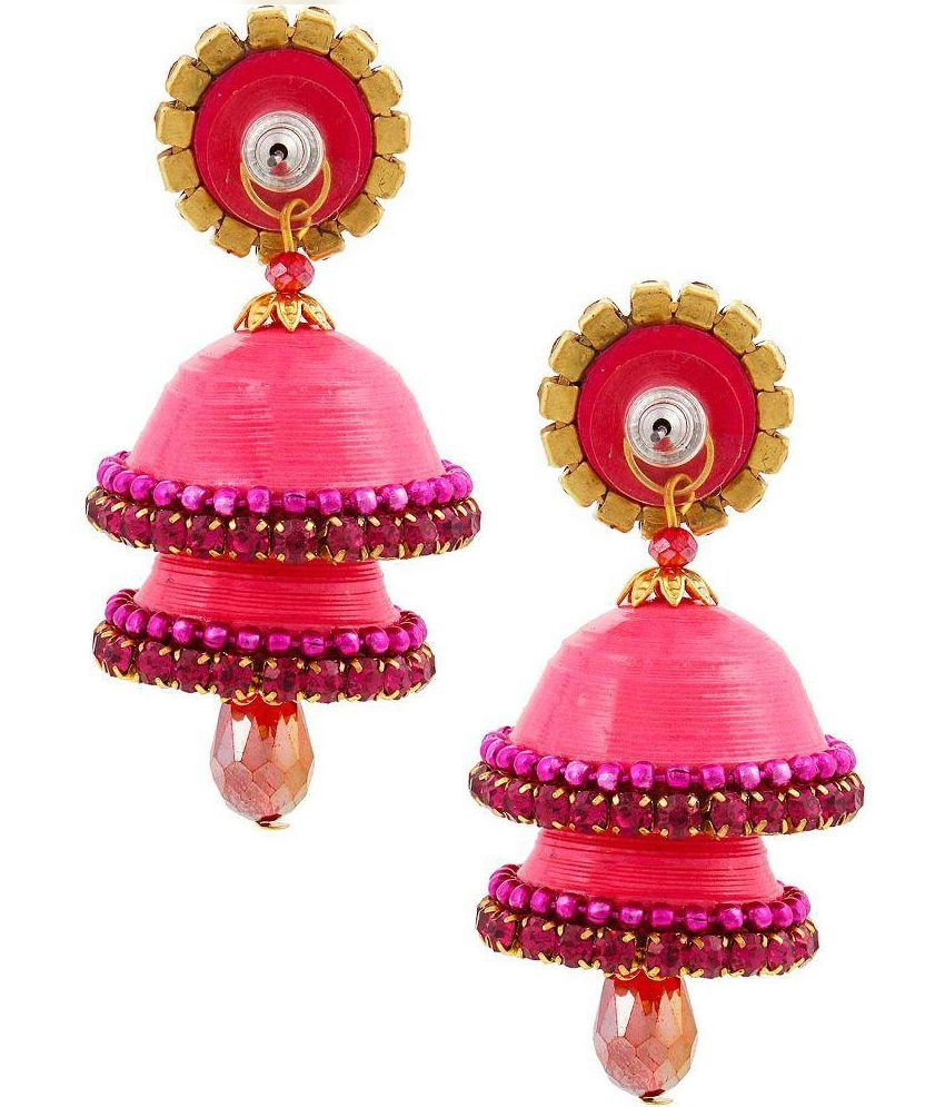 Yogya Mart Beads Studded Pink Coloured Earrings