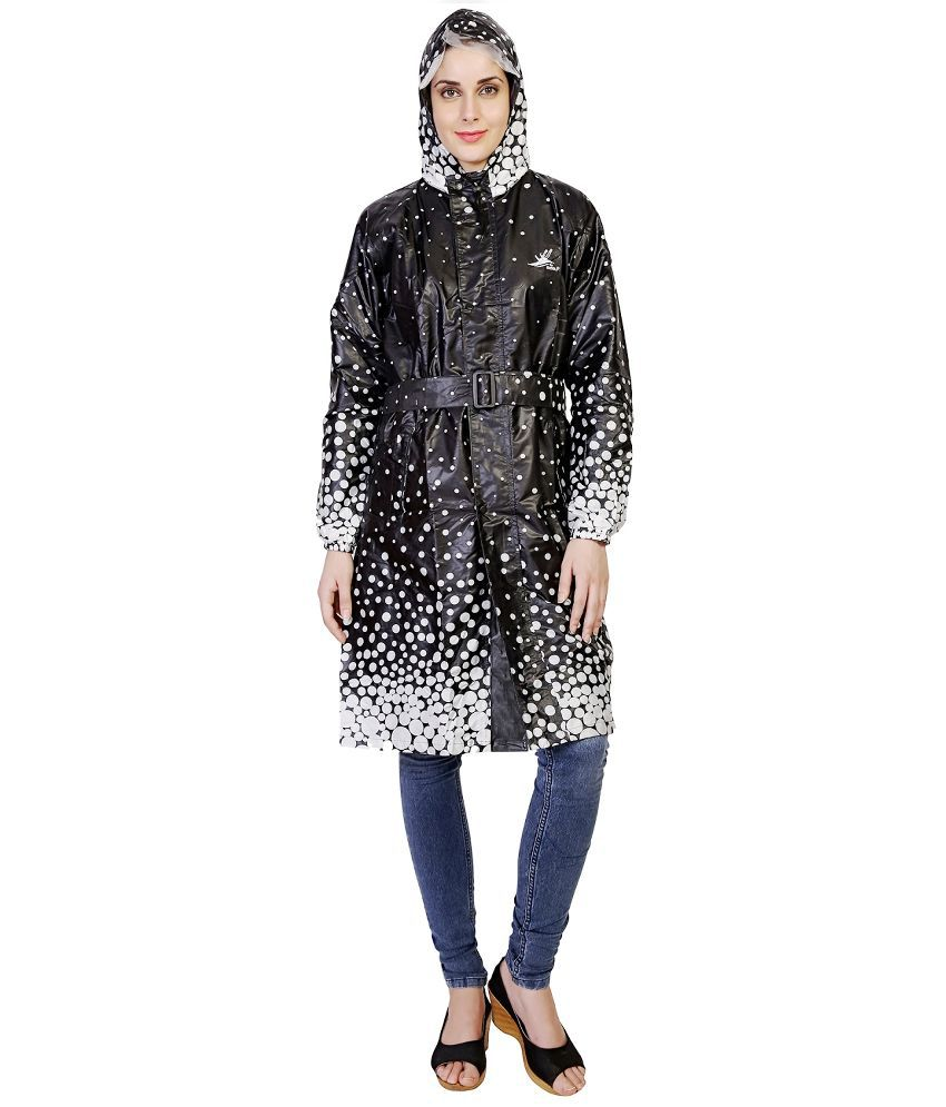Zeel Black Polyster Raincoat
