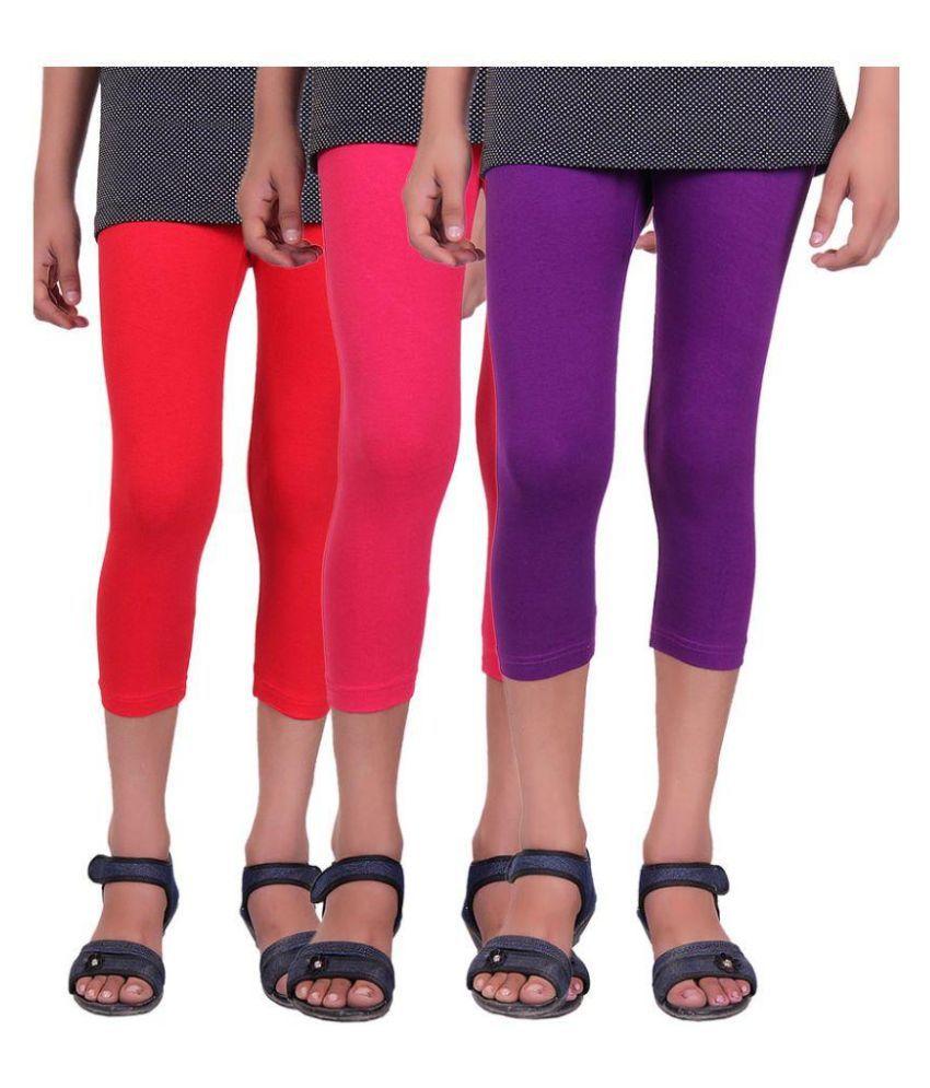 Alisha Multicolor Cotton Capri - Pack of 3