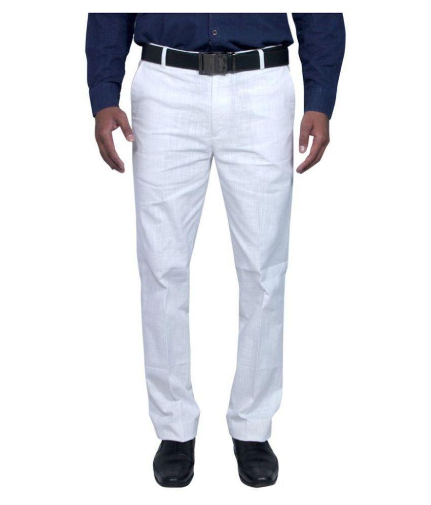 Rich Blue White Regular Pleated Trouser