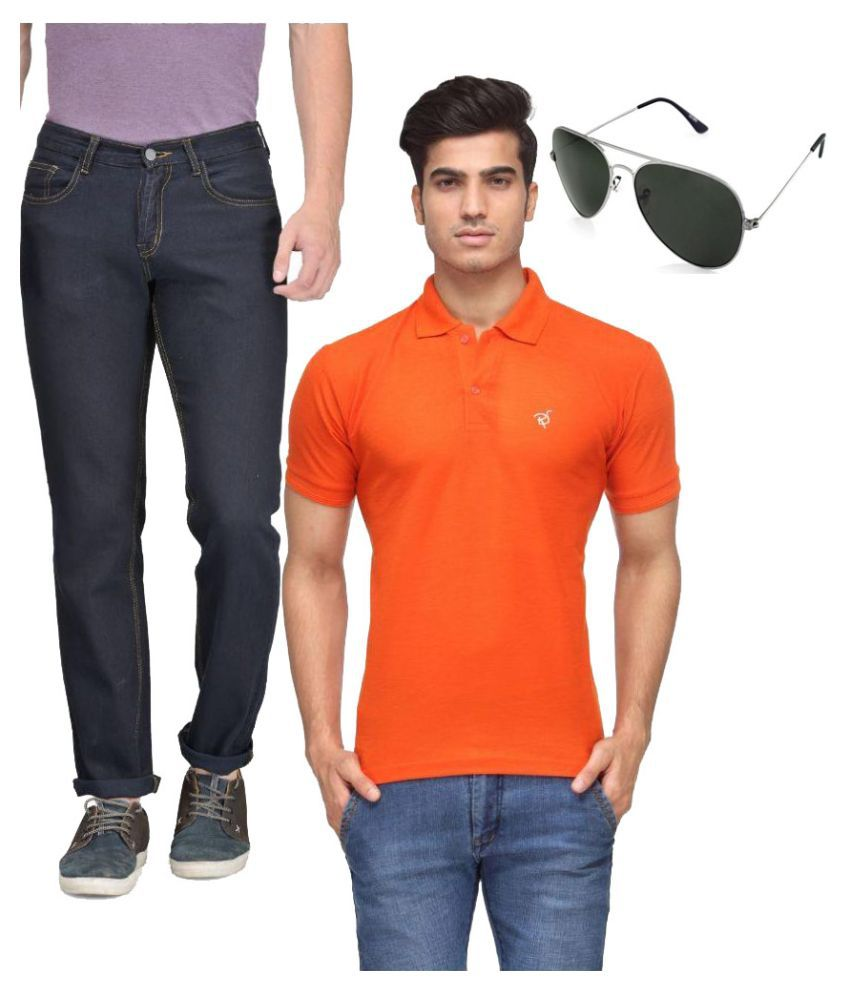 Rico Sordi Blue Regular Fit Solid Jeans T-Shirt, Shirt and Sunglasses