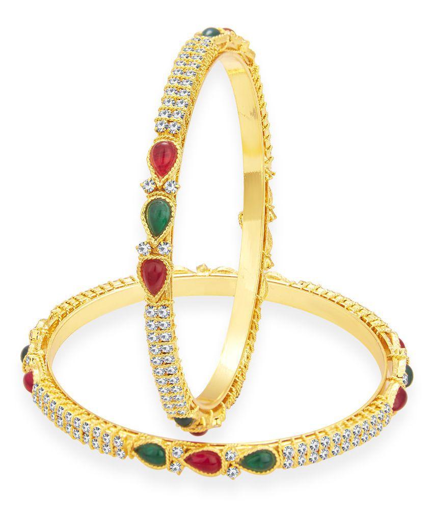 Sukkhi Alloy Gold Plating Austrian Diamond Studded Multi Coloured Bangle Set