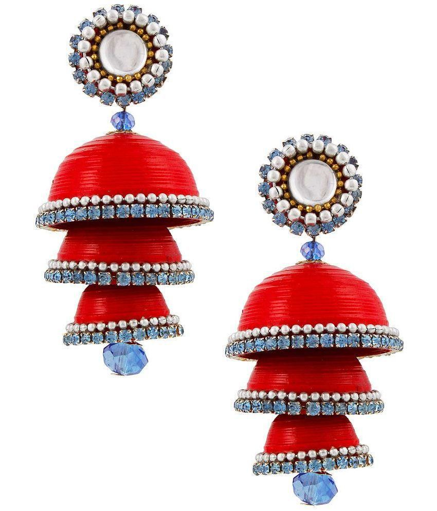 Yogya Mart Beads Studded Red Coloured Earrings