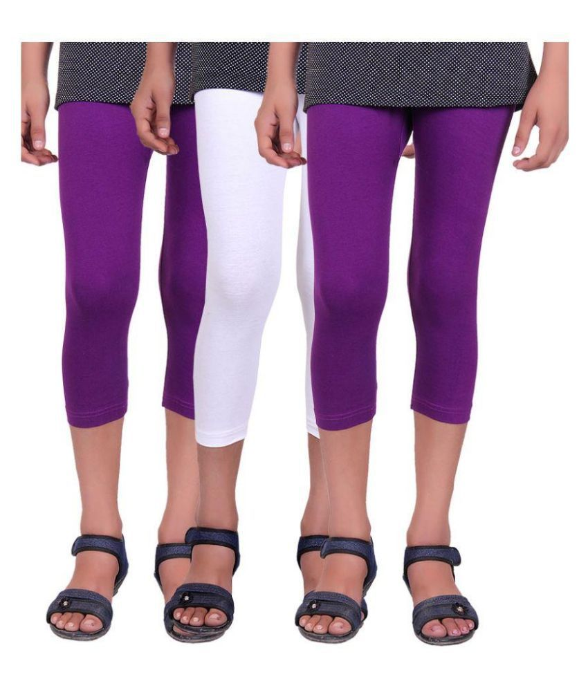 Alisha Multicolour Cotton Lycra Capri for Girls - Pack of 3