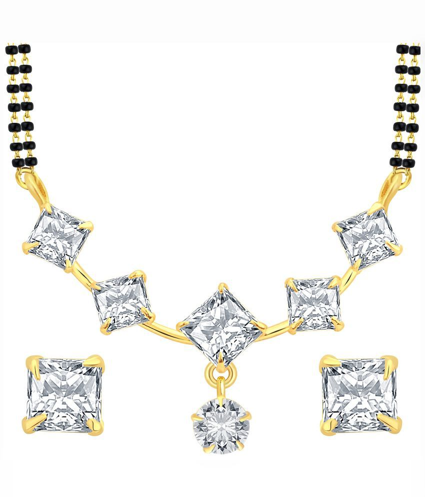 Sukkhi Alloy Gold Plating Cubiz Zirconia Studded Gold Coloured Mangalsutra Set
