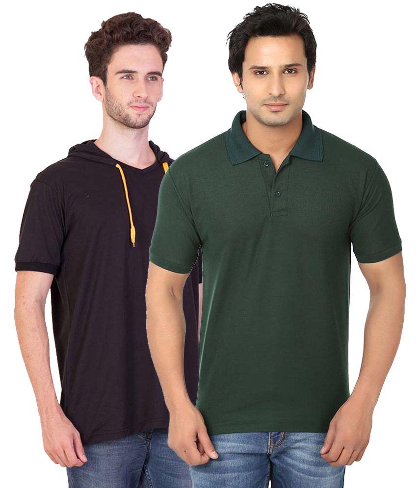 BrandTrendz Multi Henley T Shirt Pack of 2
