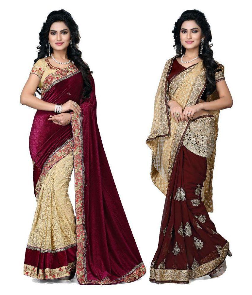 Raahi Fashion Multicoloured Velvet Saree Combos