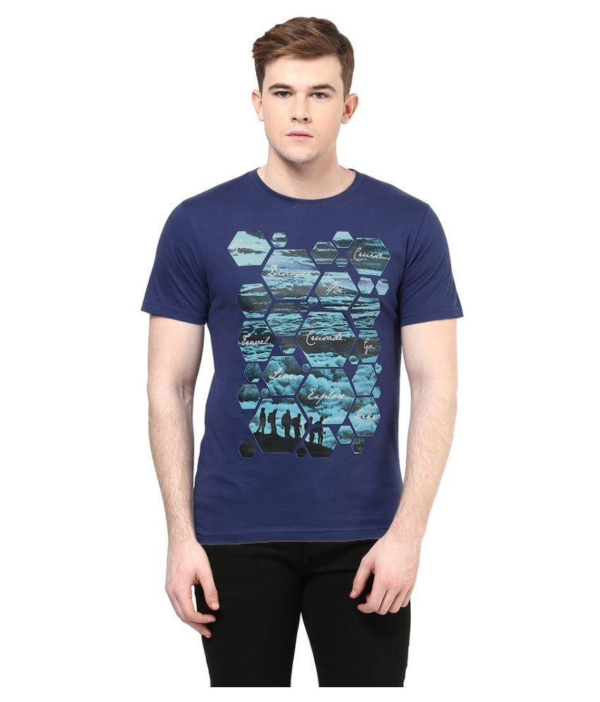 Elaborado Navy Round T Shirt