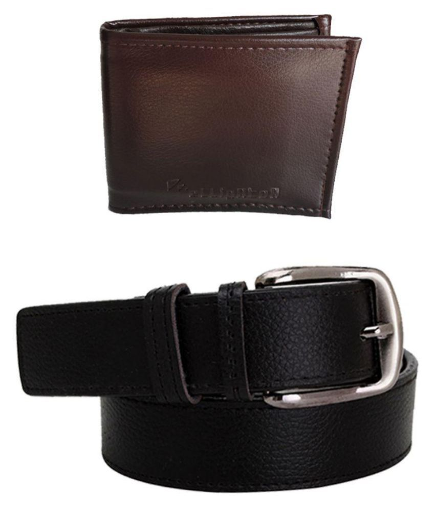 Elligator Black Formal Belt for Men with Brown Wallet