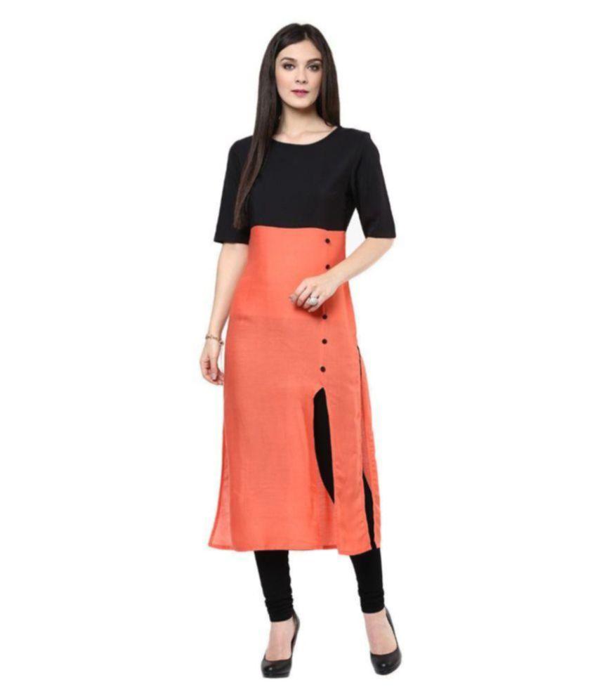 FashionUma Orange Cotton Straight Kurti