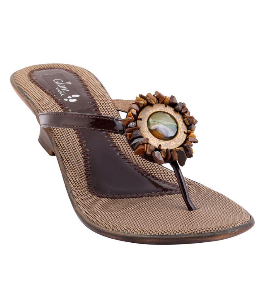 Glamwalk Brown Wedges Heels