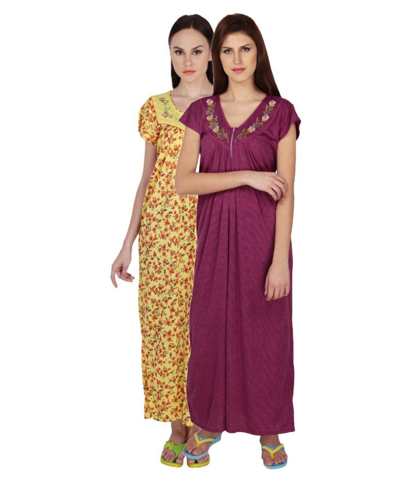 Simrit Multi Color Cotton Nighty & Night Gowns
