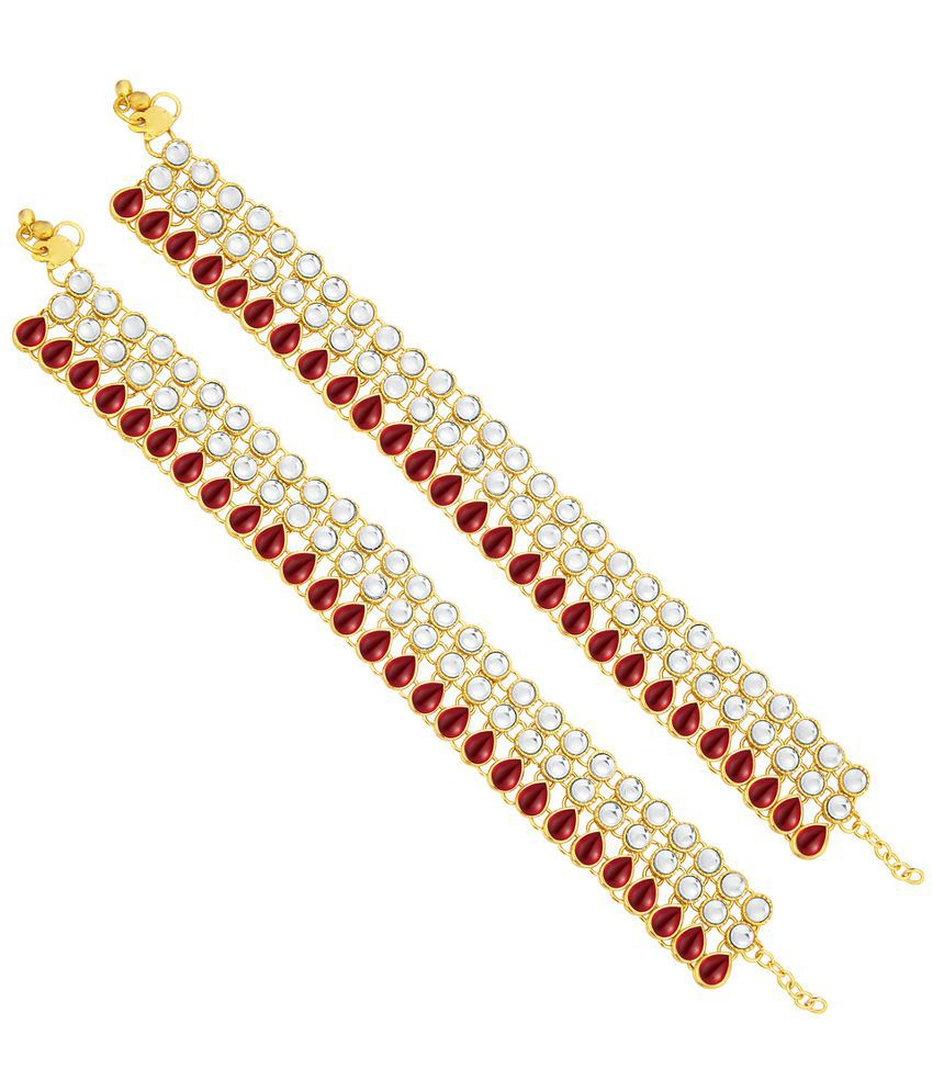 Sukkhi Alloy Gold Plating Studded Red Coloured Pair Of Anklets