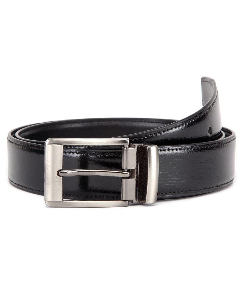 U+N Black Leather Belt for Men