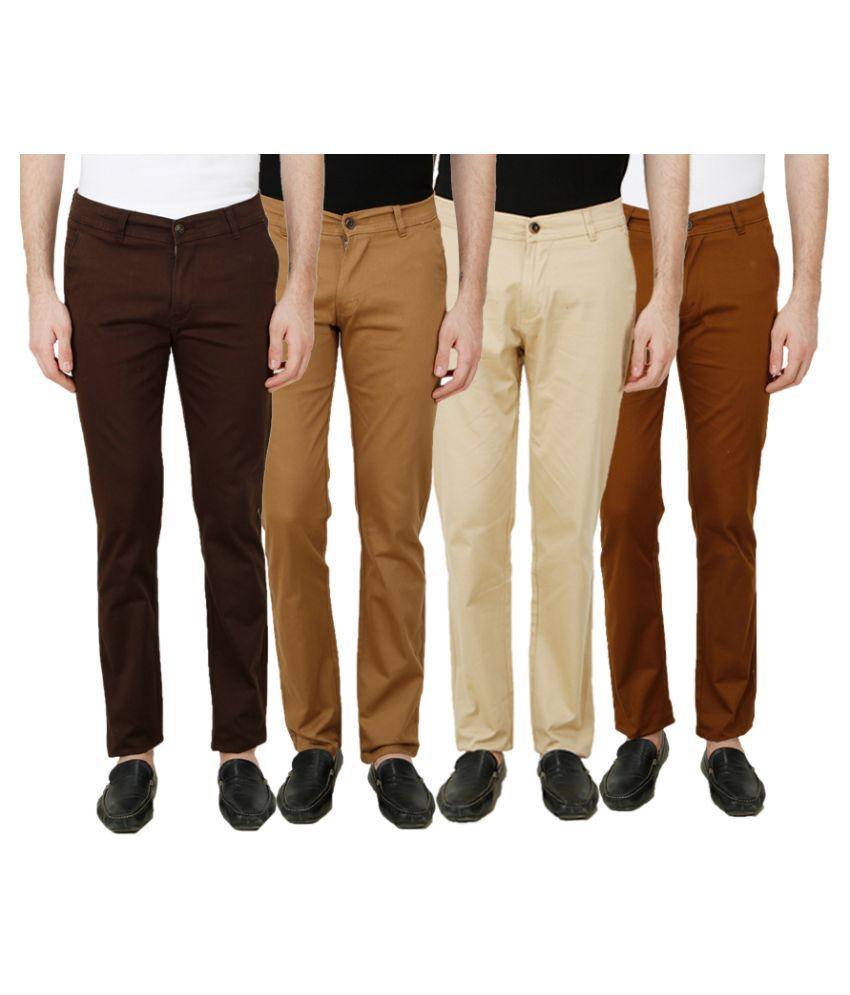 Ansh Fashion Wear Multi Regular Fit Chinos Pack of 4