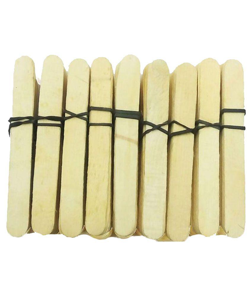 f64baa77e4 KidsTab Wooden Ice Cream Sticks Ice cream Sticks art craft lowest price popsicle  sticks craft Sticks - 200 Pieces: Buy Online at Best Price in India - ...