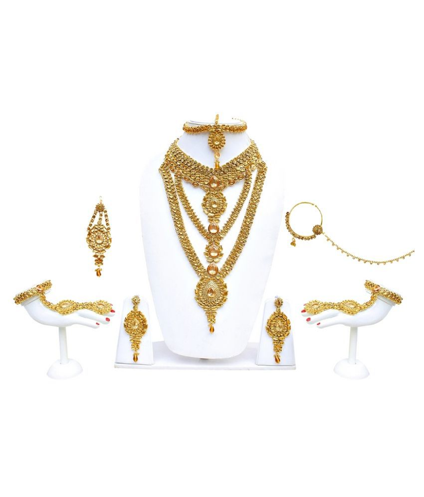 Lucky Jewellery Golden Alloy Bridal Necklaces Set