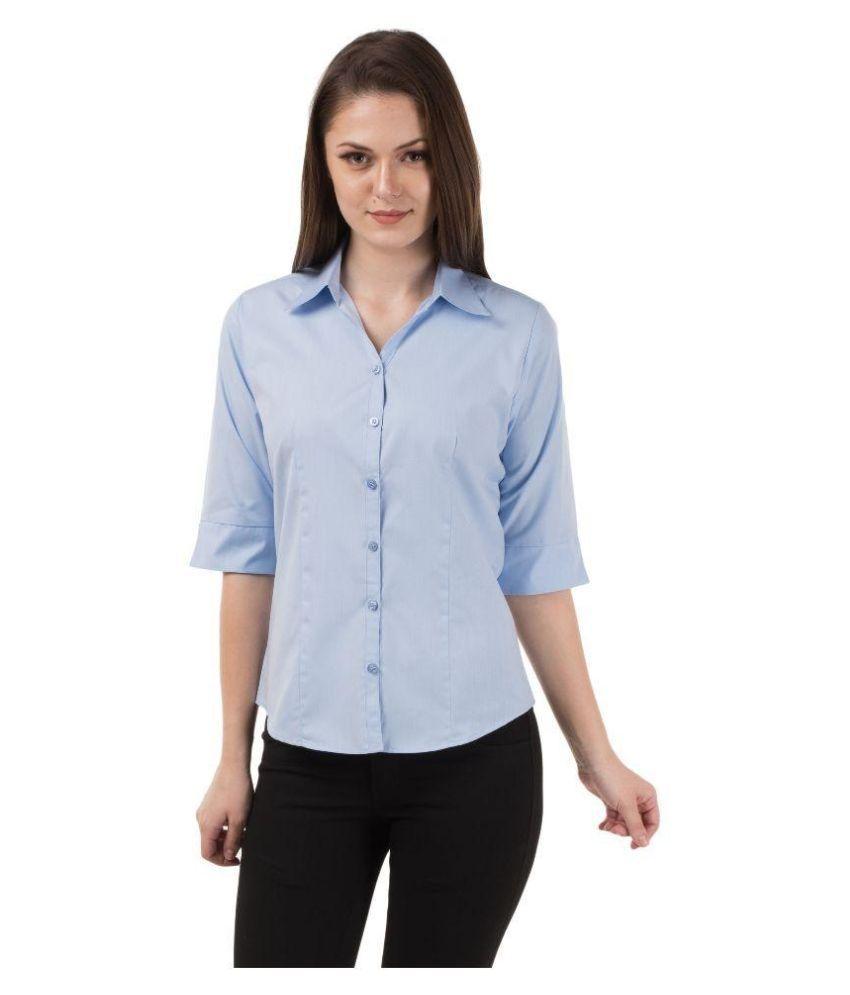 Shoprillo Blue Cotton Blend Shirts