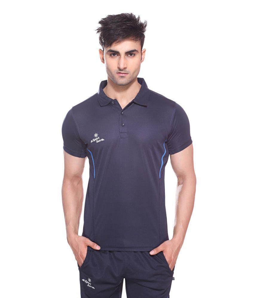 Sport Sun Navy Blue Polyester T-Shirt