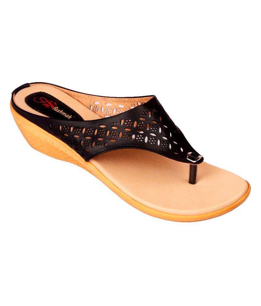 FashMak Black Wedges Heels