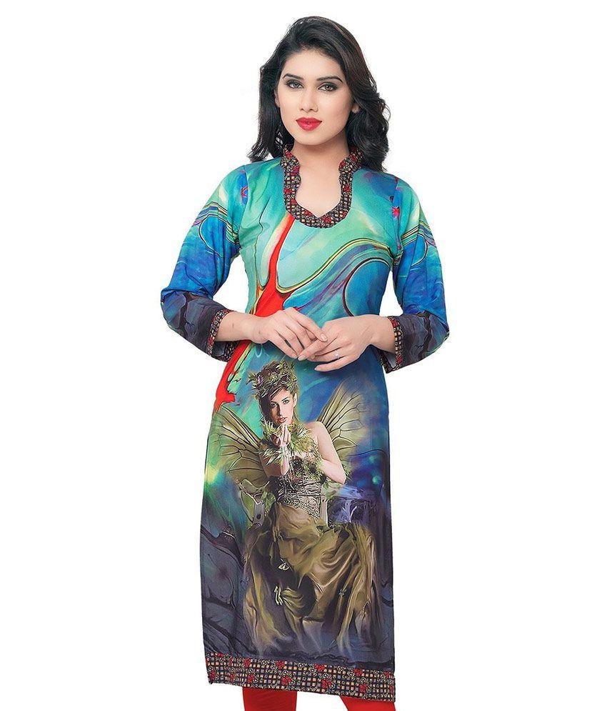 Fashion Fabron Multicoloured Crepe Straight Kurti