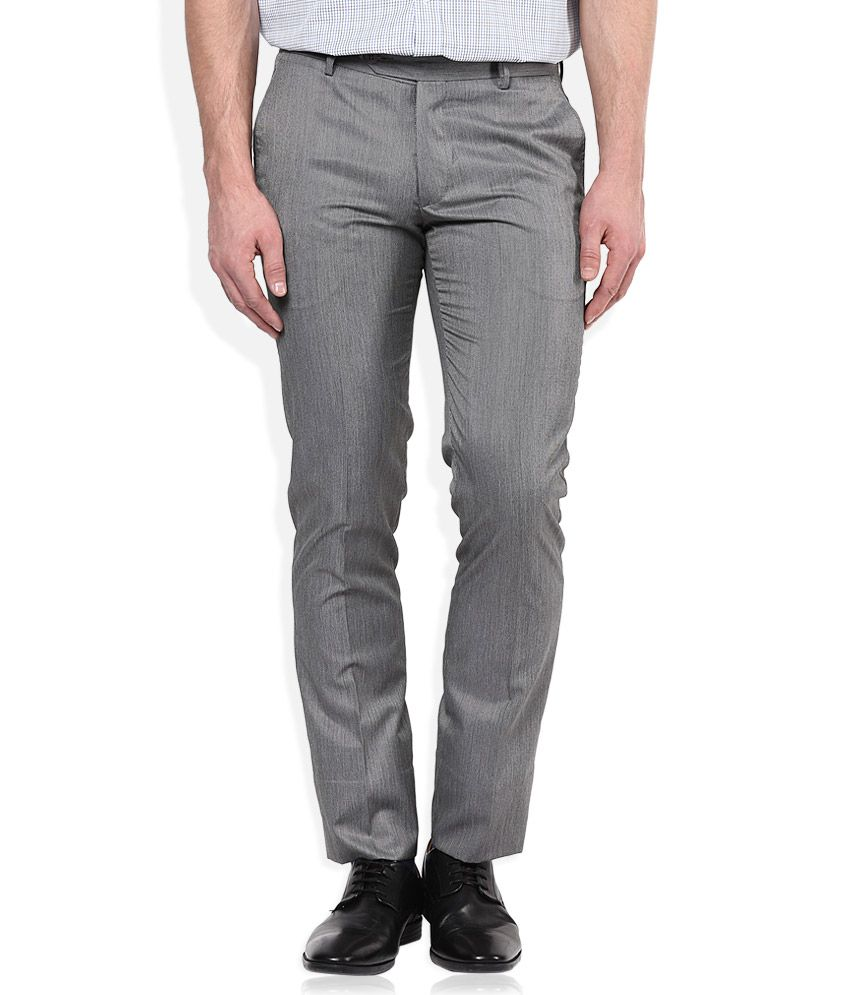 John Players Grey Slim Pleated Trouser