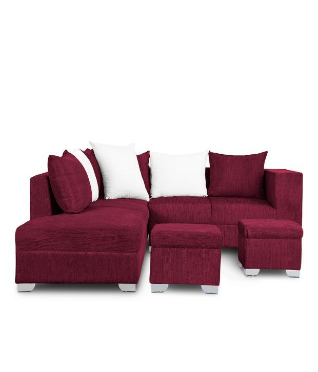 S K Furniture Fontaine Plum Sofa Set With Pouffe ...