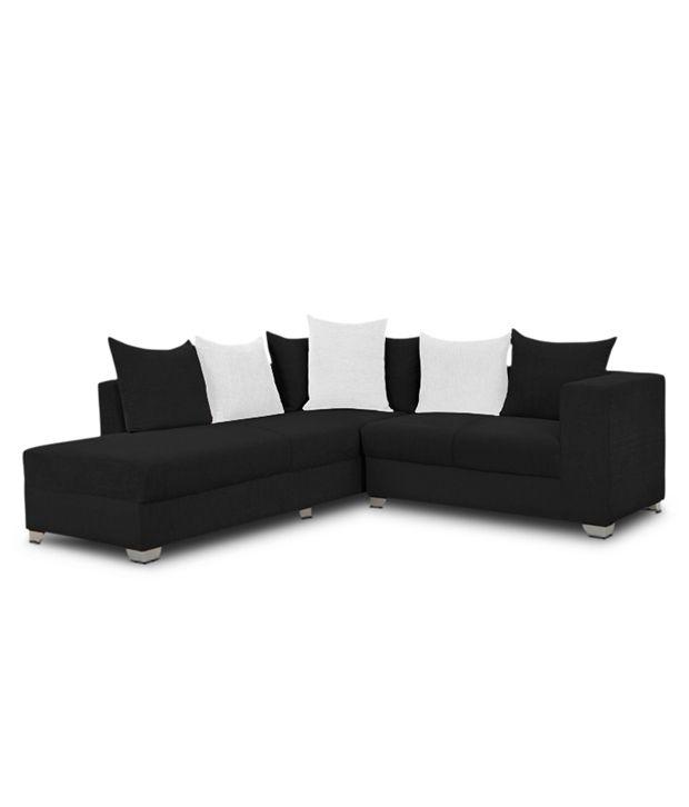 S K Furniture Mestler Black L Shape Sofa With Center Table ...
