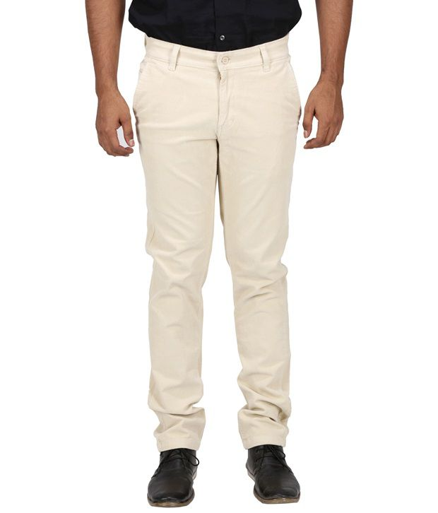 Inspire Clothing Inspiration Beige Slim Fit Flat Trousers