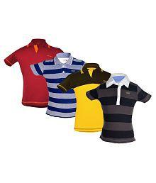 Gkidz Multicolour Cotton Polo T-Shirt - Pack of 4