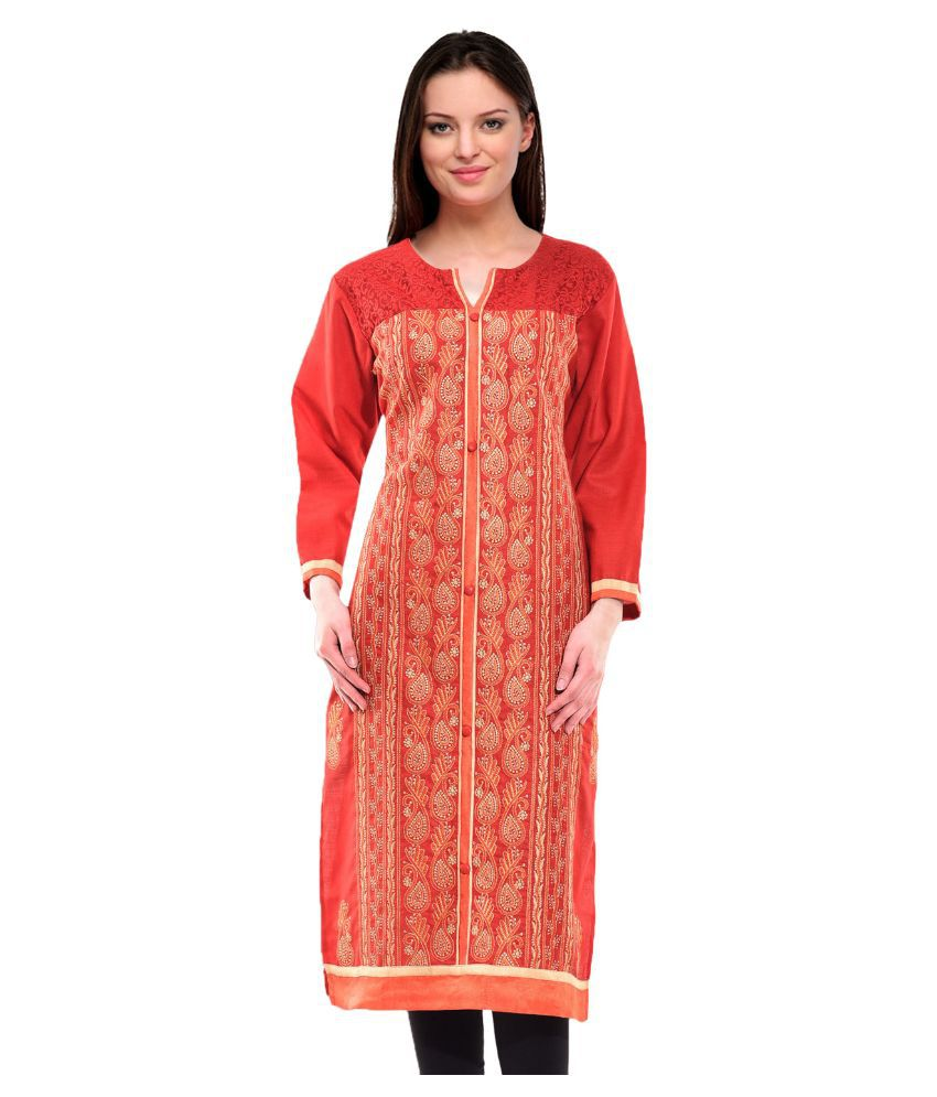 Aadhunik Libaas Red Cotton Straight Kurti