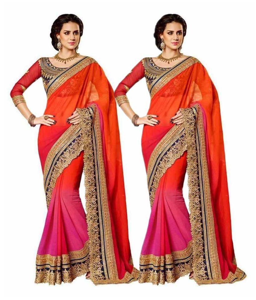 c849d06896 Rudra Fashion Multicoloured Georgette Saree Combos - Buy Rudra Fashion  Multicoloured Georgette Saree Combos Online at Best Prices in India on  Snapdeal