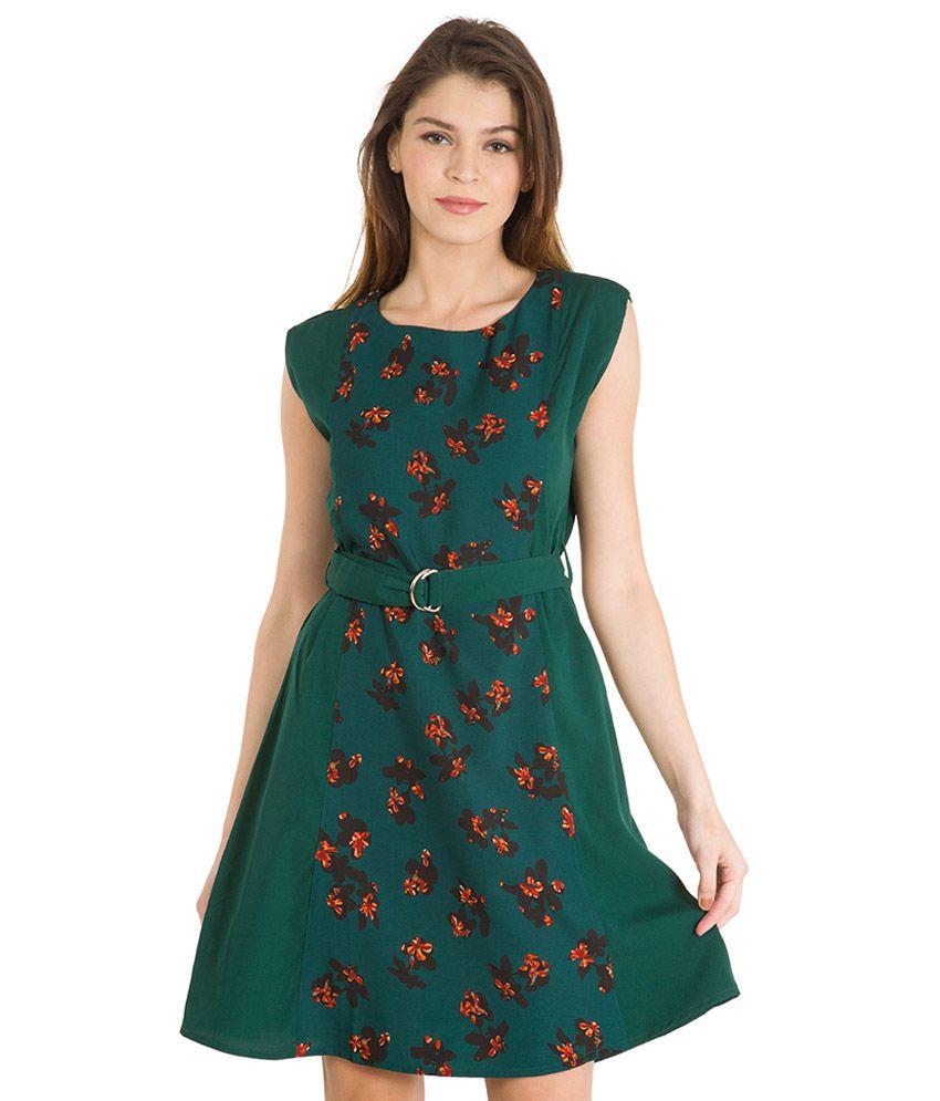 Green Boat Neck Dress