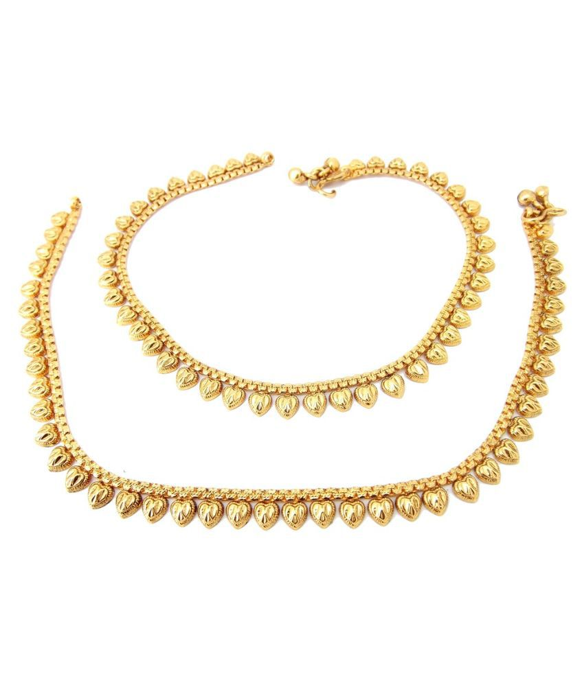 9Blings Gold Plating Alloy Cubiz Zirconia Anklets - Pair of 2