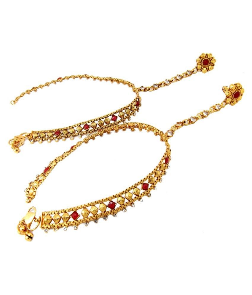 9Blings Gold Plating Alloy Cubiz Zirconia Anklet and Toe-Ring