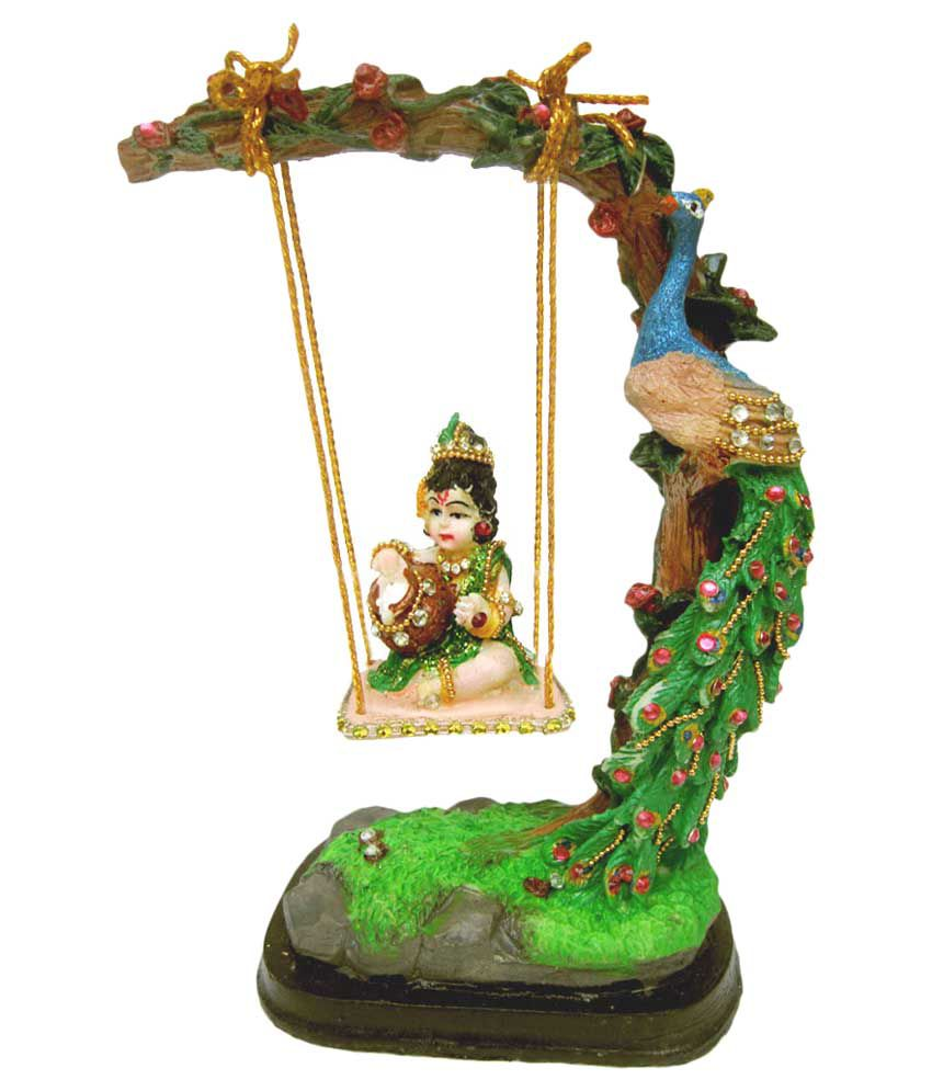 Creativity Centre Glossy Resin Bal Gopal Jhula With Tree Peacock