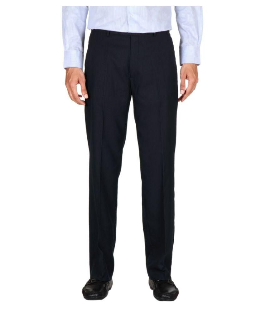 K K Enterprises Navy Regular Fit Flat Trousers