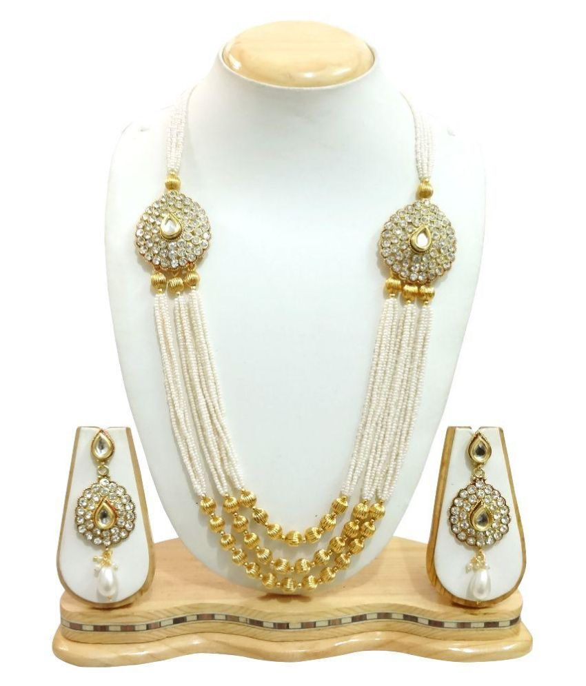 Arts Chetan Zinc Beads Studded White Coloured Necklaces Set