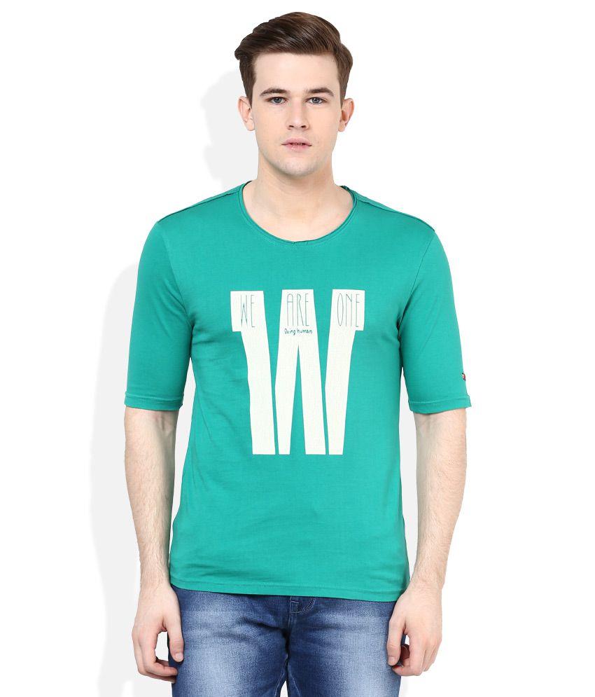Being Human Green Half Sleeves Printed T-Shirt